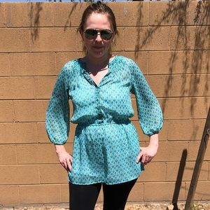 Medium flowy Mossimo turquoise tunic with print